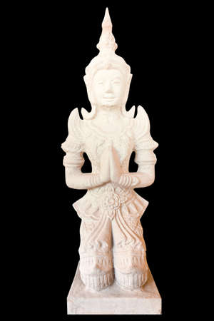 Thai statue in the temple on black background with clipping path