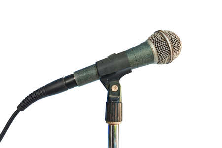 old microphone isolated on white background with clipping path