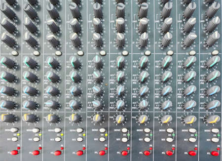 On a photo mixing desk. Close up photos Stock Photo