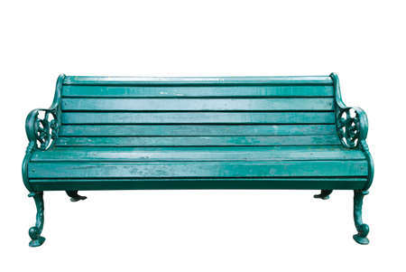 the green bench on white background