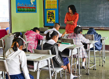 The national test of students in grade 3 at 8 - 9 March 2012  in  Ban Na school , Nan  Thailand Editorial