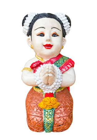 Thai girl sculpture for Sawasdee welcome of thailand Stock Photo - 12585122