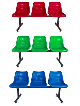 the set of plastic chairs on white background