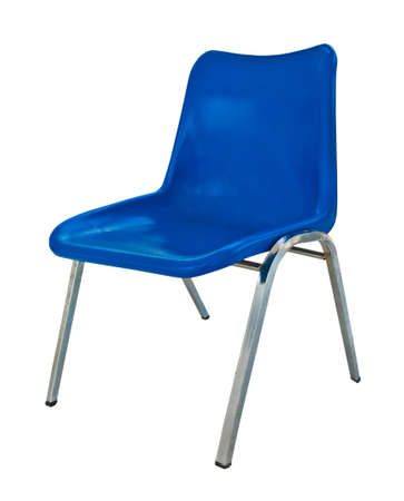 blue plastic chair on white background  Stock Photo