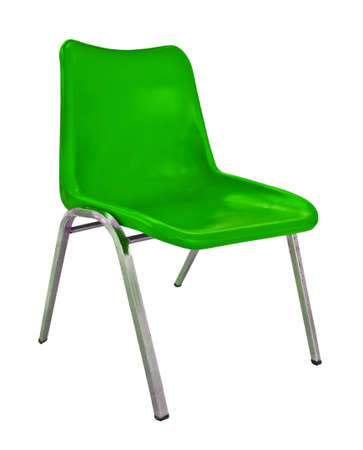 green plastic chair on white background
