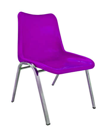 purple plastic chair on white background  Stock Photo