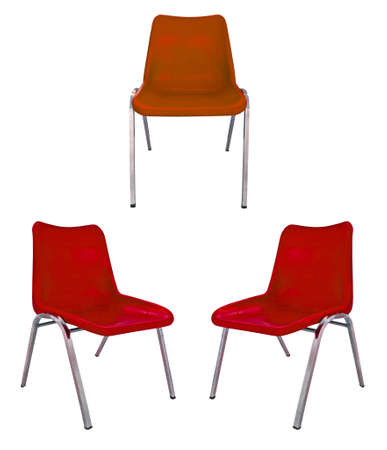 three red plastic chairs on white background