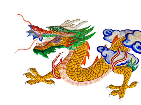 allegory painting: dragon painting on temple wall Stock Photo