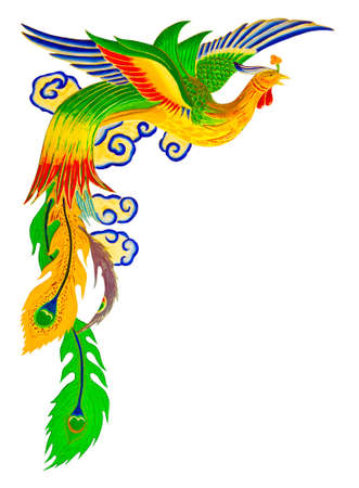tatouage oiseau: chinois pheonix sur le mur du temple Banque d'images