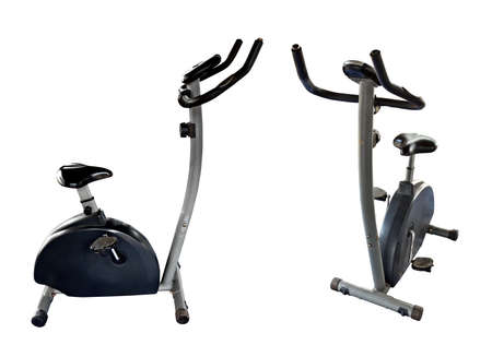 Bicycle exercise machine isolated on white background