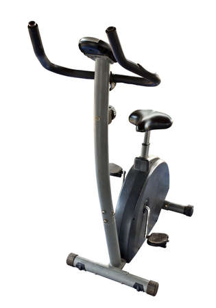 Bicycle exercise machine isolated on white