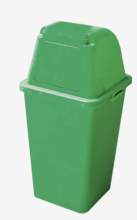 degradable: green recycle bin on white