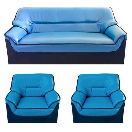 blue leather sofa: set di divano in pelle blu isolato su bianco