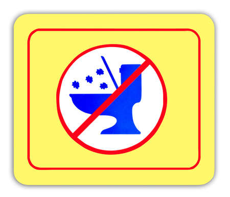 prohibiting: Warning tag prohibiting dumping waste into the toilet Stock Photo