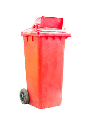 red recycle bin on white