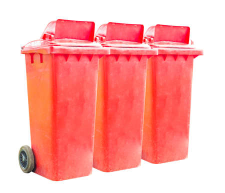 tripple: tripple red recycle bins on white background Stock Photo