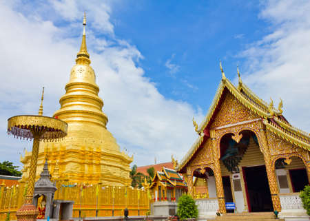 Wat phra that hariphunchai at Lamphun province, Thailand Stock Photo