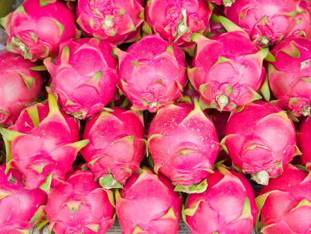 many dragon fruit in the fresh market, Thailand Stock Photo