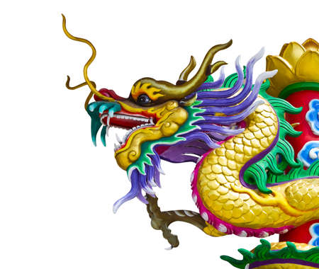 chinese new year dragon: dragon statue on white background