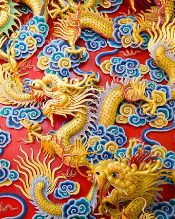 statue chinoise sur le mur du temple, Tha�lande