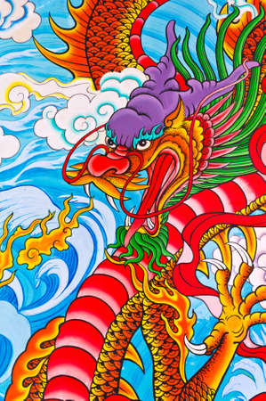 tradition chinese dragon painting on chinese temple wall in Thailand photo
