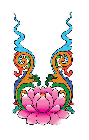 lotus painting chinese style on white background photo