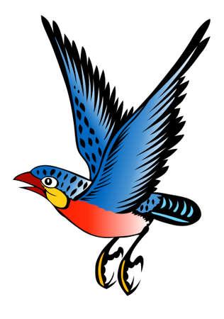peinture d'un oiseau sur le fond blanc