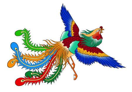 phoenix style chinois sur fond blanc Banque d'images
