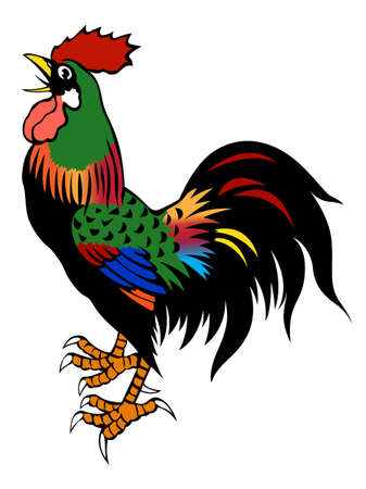 cockerel: painting of the chicken on white background Stock Photo