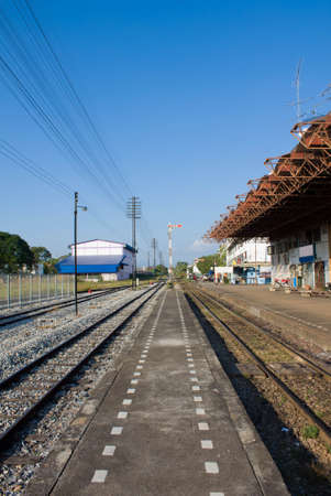 landscape of railway with blue sky in Thailand
