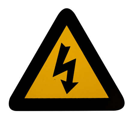 electrical hazard warning sign with clipping path photo