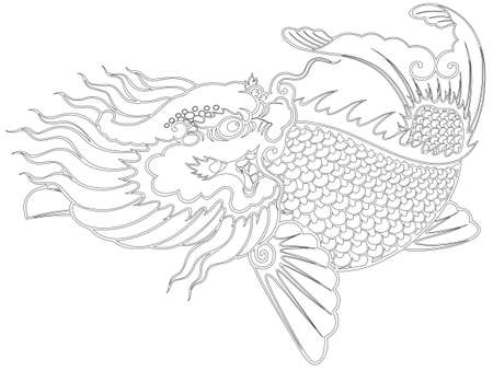 dragon fish chinese style painting from illustrator, picture for coloring photo