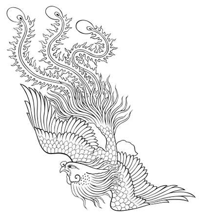 phoenix bird: phoenix chinese style on white background from illustrator for coloring Stock Photo