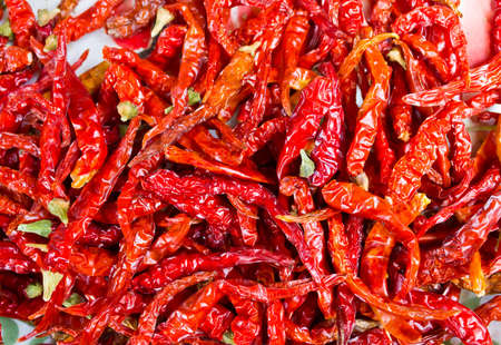 close up shot of dried chili in the tray Stock Photo