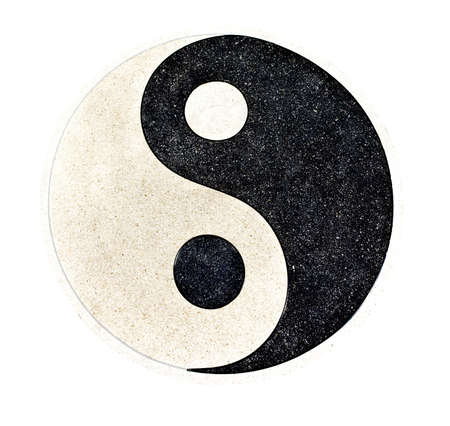 feng shui:  Yin Yang  stone decorative on the floor with clipping path Stock Photo