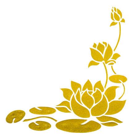 schilderij van lotus op de muur met het knippen van weg voor hoek van het frame