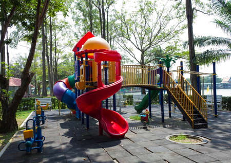 Modern children playground in in park, Thailand photo