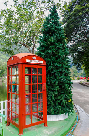 public telephone box in the park