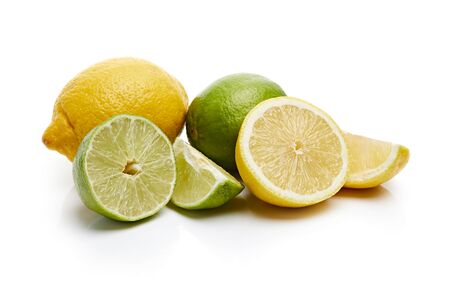 Lemon and Lime Isolated on White Background Stock Photo