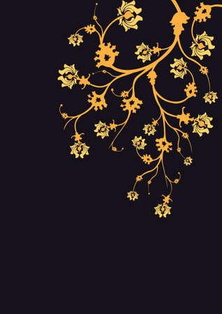 arbitrario: Arbusto de oro colgando del borde superior de un campo Vectores