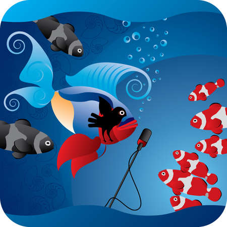Elvis reincarnation in ocean, or the fish which tries to sing. Stock Vector - 4611411