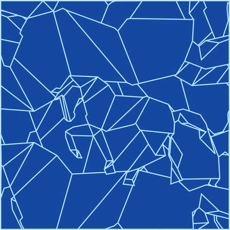 computation: Pattern made of schemes origami in blue colors Illustration