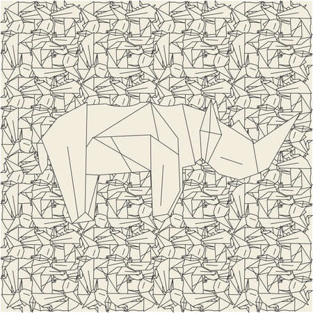 computation: Pattern made of schemes origami in light colors Illustration