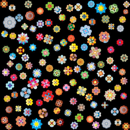 multitude: flores en negro Vectores