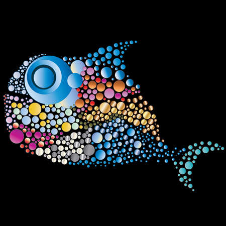 river vector: whale from beautiful soap-bubbles on a black background