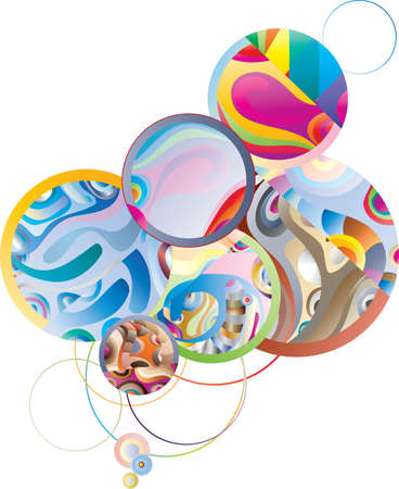 delimit: abstract composition from bubbles on a white background Illustration