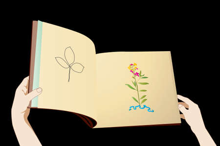 reading a textbook on a botany Stock Vector - 4908771