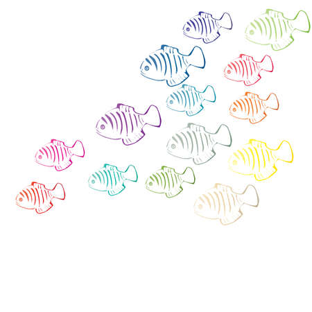 emptiness: coral fishes flash in white emptiness