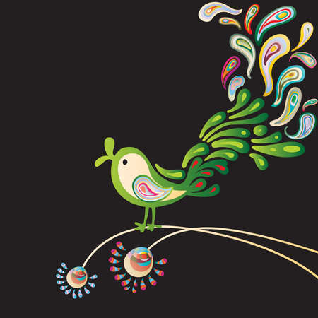 singing at night of green nightingale Vector