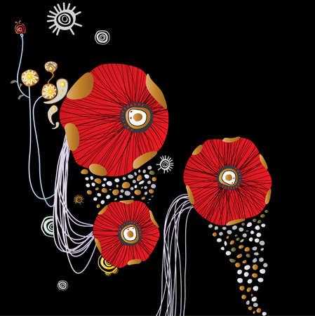 red abstract flowers background Vector